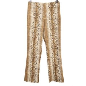 Cache Brown Snake Skin Zip Front Stretch Pants